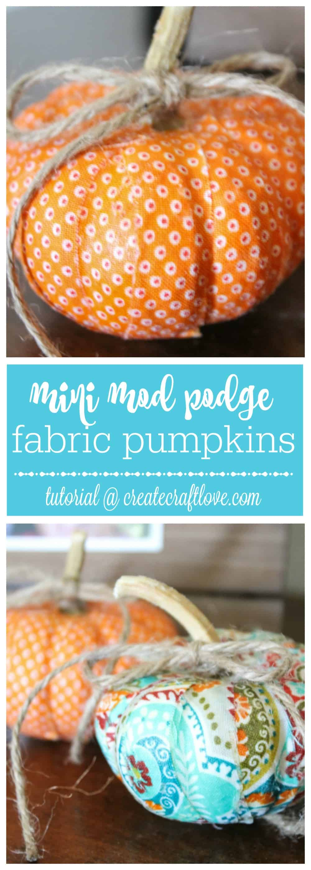 These Mini Mod Podge Fabric Pumpkins are a bright and colorful way to add to your fall decor!