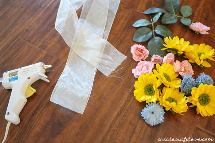 making the floral headband