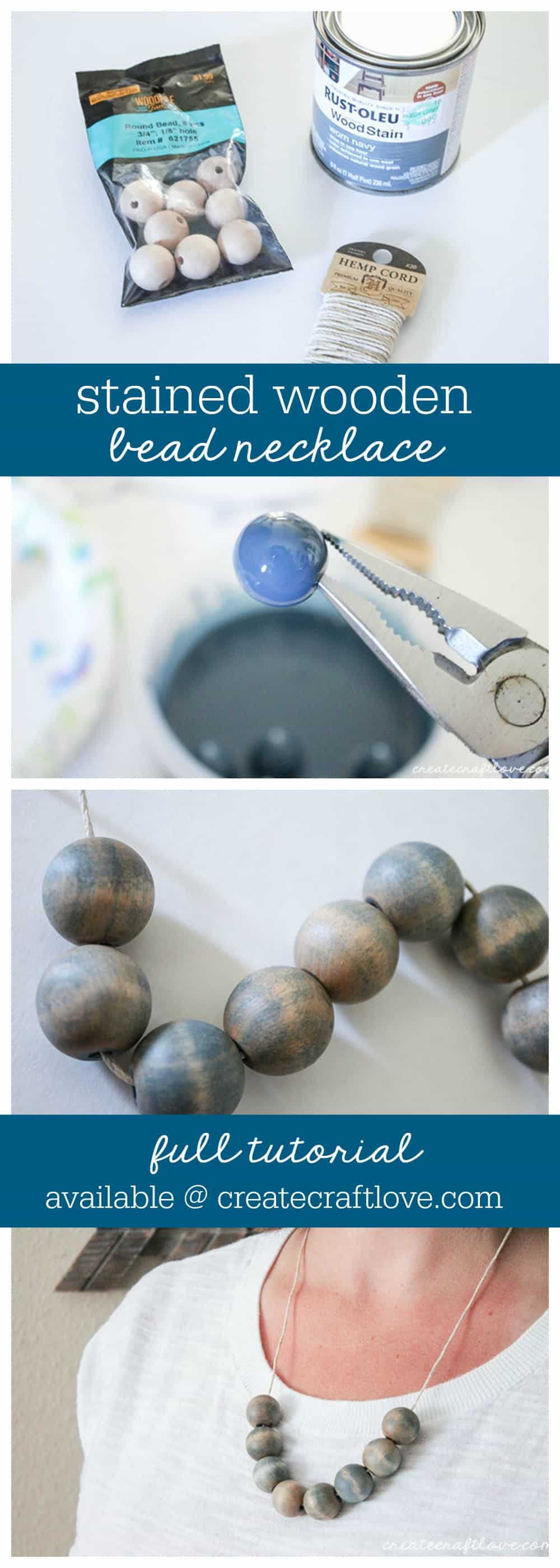 This Stained Wooden Bead Necklace is a trendy way to dress up your fall wardrobe!