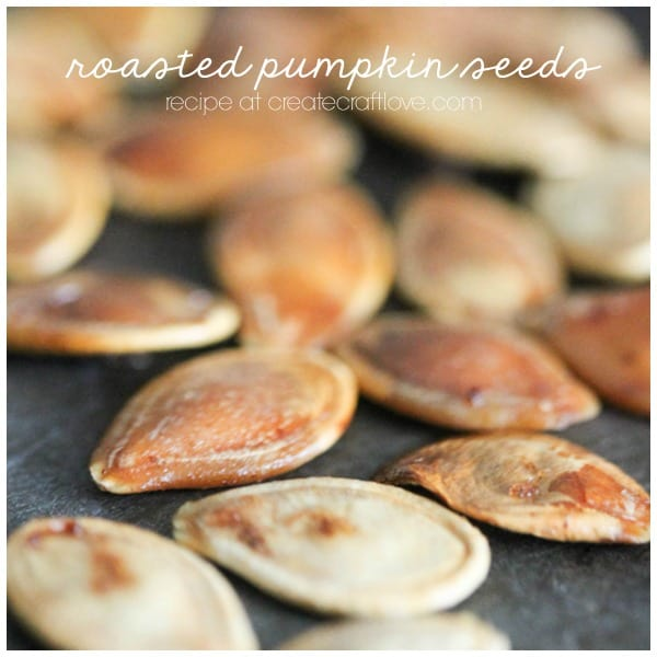 Roasted Pumpkin Seeds are the happy leftovers after a full day of pumpkin everything!  via createcraftlove.com
