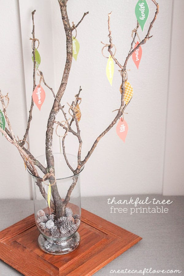 This Thankful Tree with Free Printable is a great way to teach kids to count their blessings!  via createcraftlove.com