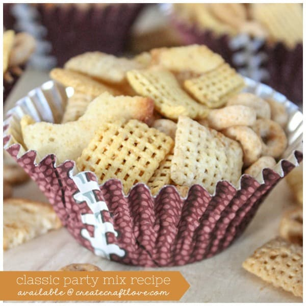 This Classic Party Mix Recipe will flood your taste buds with memories of your childhood! via createcraftlove.com