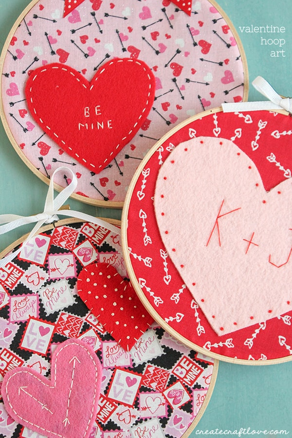what do you get when you combine valentine fabric felt and embroidery floss this