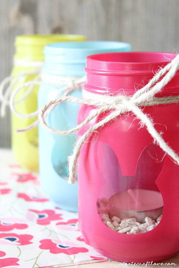 These Bunny Luminary Jars boast bright spring colors with a surprise on the back!