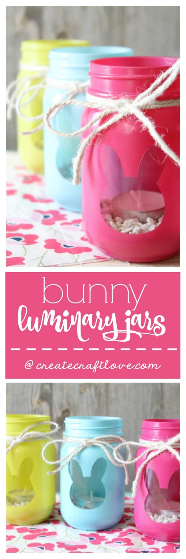 These Bunny Luminary Jars boast bright spring colors with a surprise on the back! via createcraftlove.com