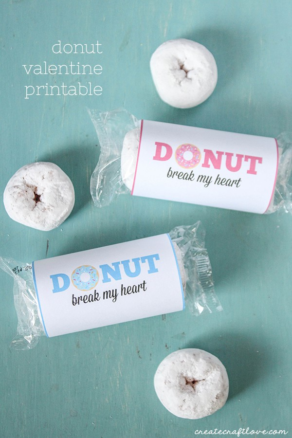 This Donut Valentine Printable is a great last minute idea for your V-Day classroom party! via createcraftlove.com