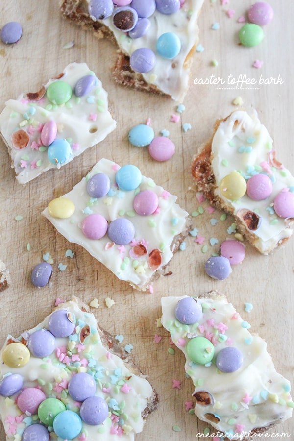 This Easter Toffee Bark is not your standard holiday bark!  It packs an extra surprise! via createcraftlovecom