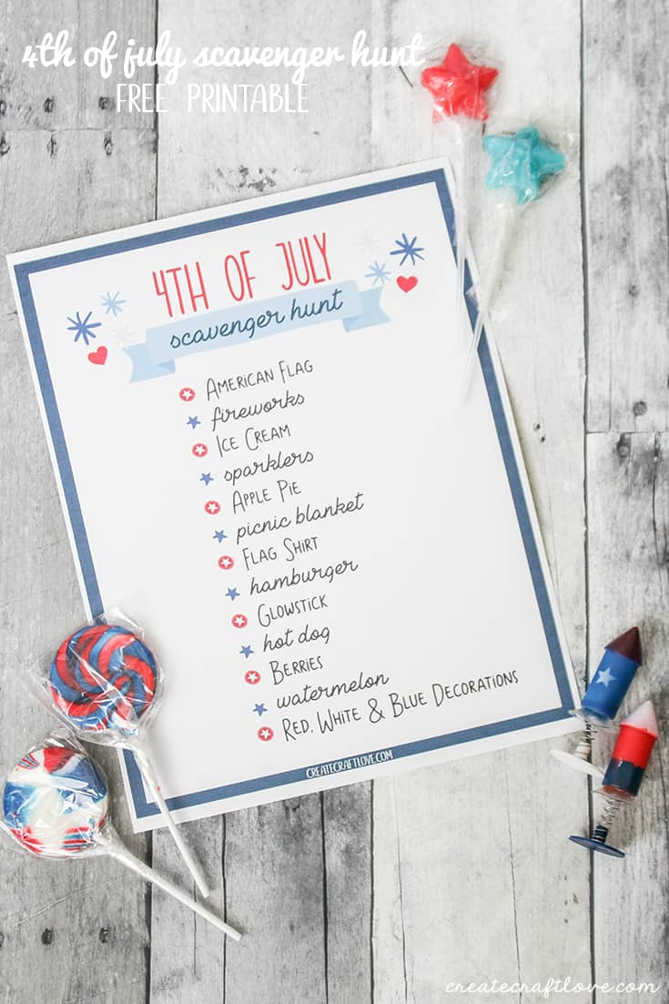 Keep the family entertained at your Independence Day festivities with this 4th of July Scavenger Hunt Printable!