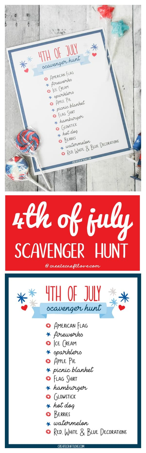 4th of July Scavenger Hunt Printable