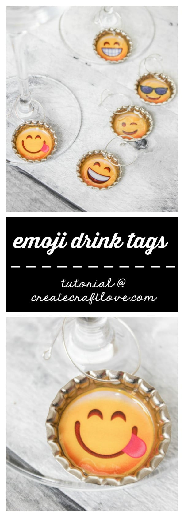 These Emoji Drink Tags add a touch of fun to your wine glass!