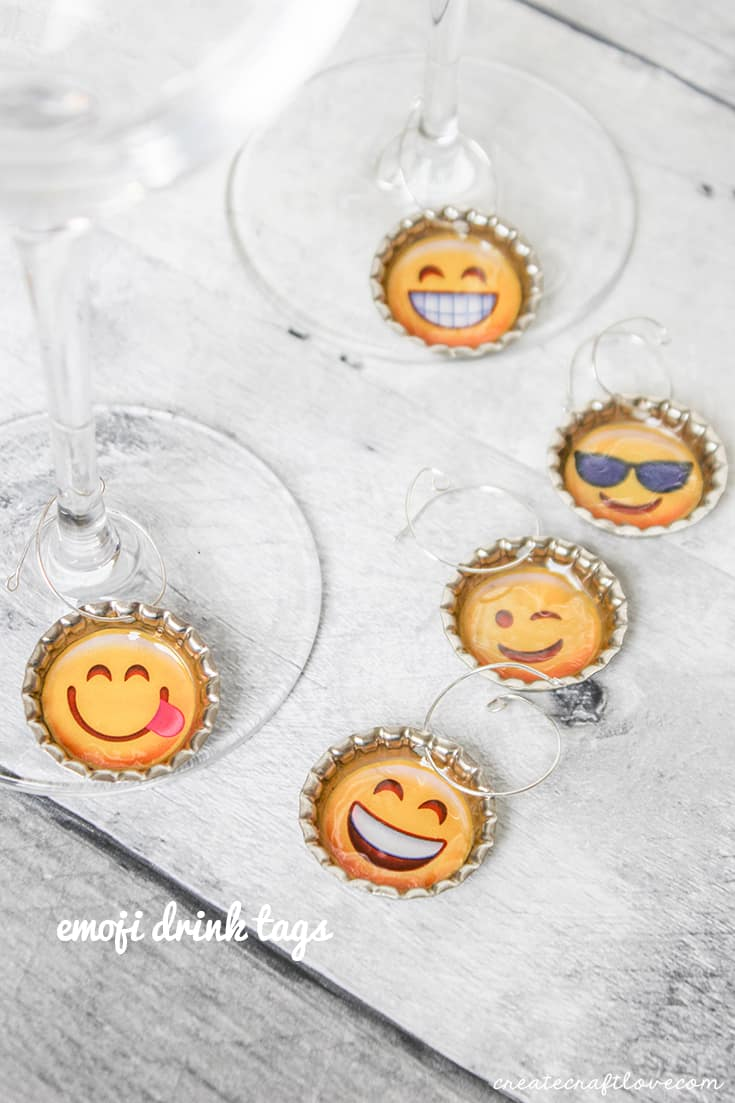 These Emoji Drink Tags are a cute addition to wine glasses for your next party!