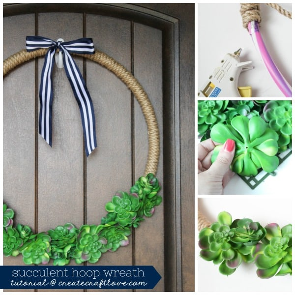 Create this stunning Succulent Hoop Wreath with 3 things!