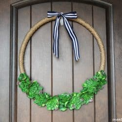 Succulent Hoop Wreath adds a trendy look to your front door!