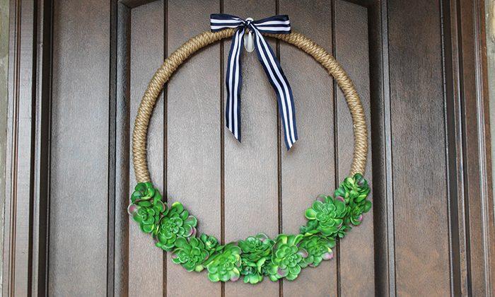 Succulent Hoop Wreath adds a trendy look to your front door!