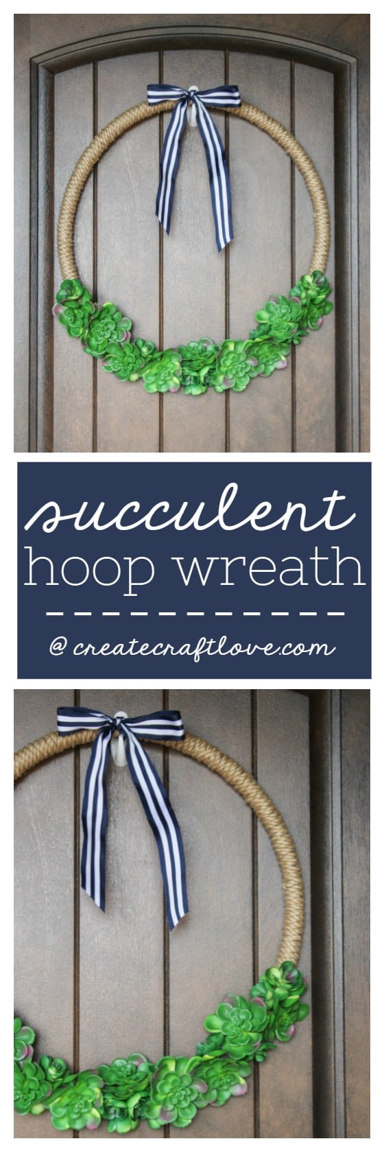 Glue rope around a hula hoop to create this hoop wreath!