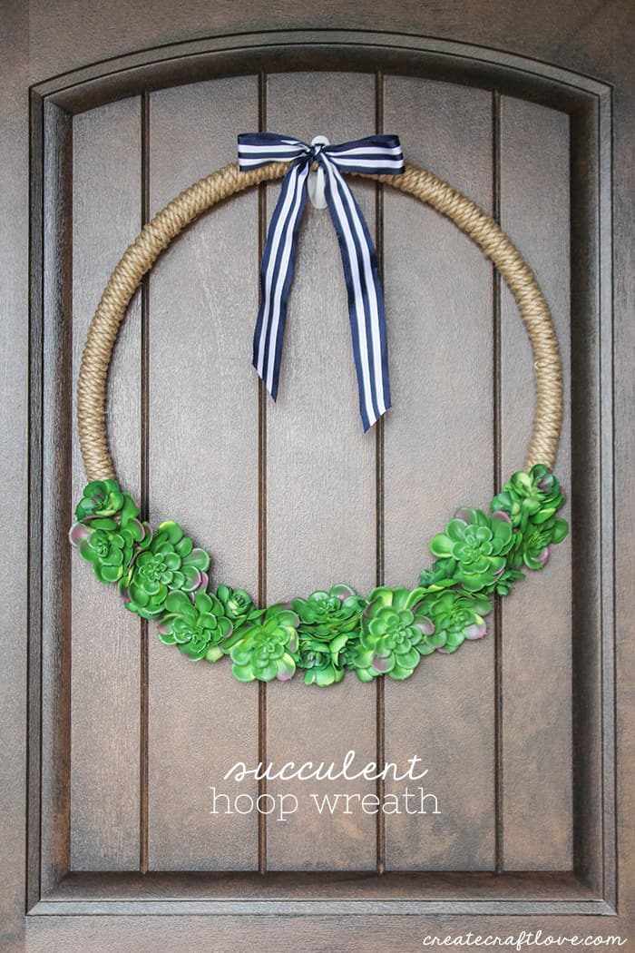 Greet guests with this super trendy Succulent Hoop Wreath!