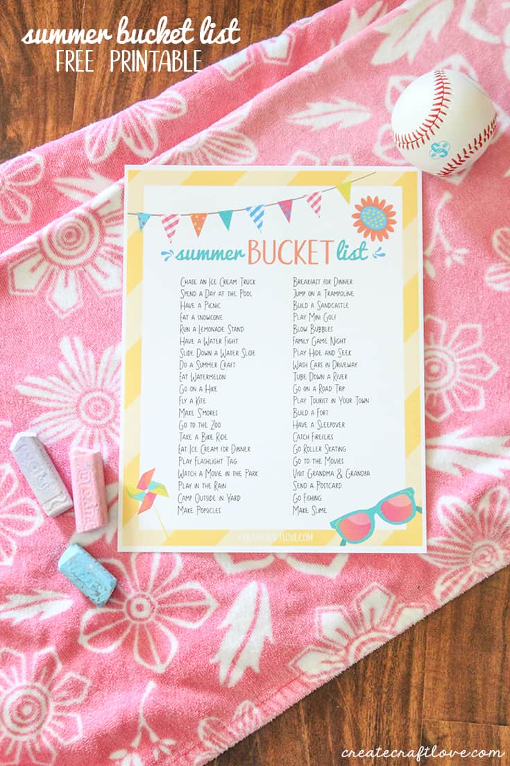 This Summer Bucket List Printable is loaded with ideas to keep the kids busy this summer!