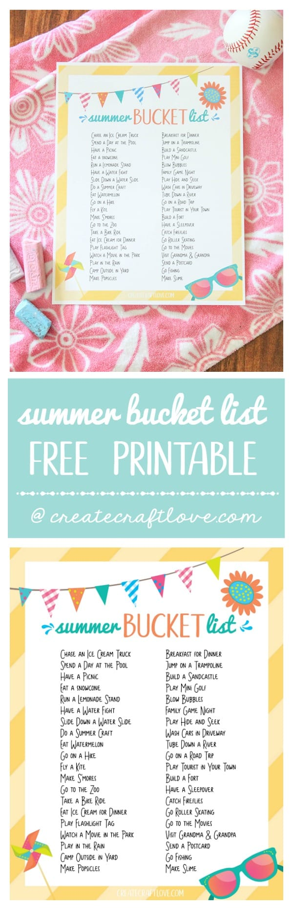 What activities would you add to this Summer Bucket List printable?