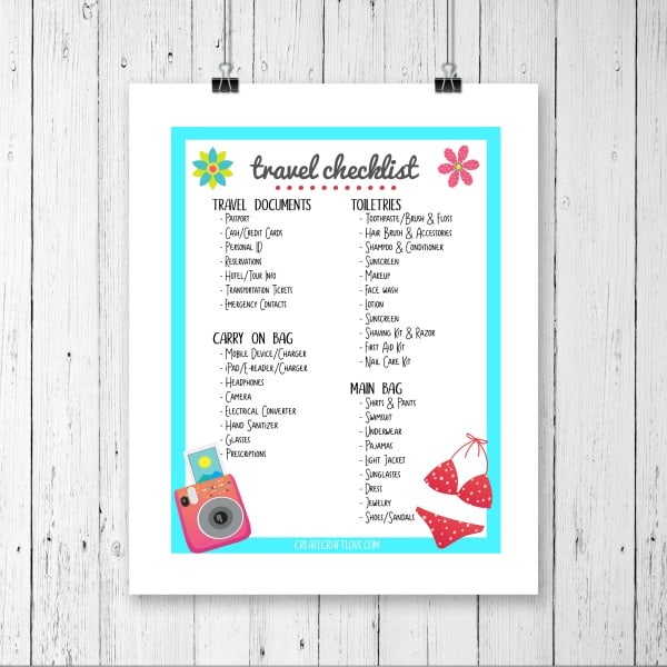 Travel Checklist Printable  Create Craft Love