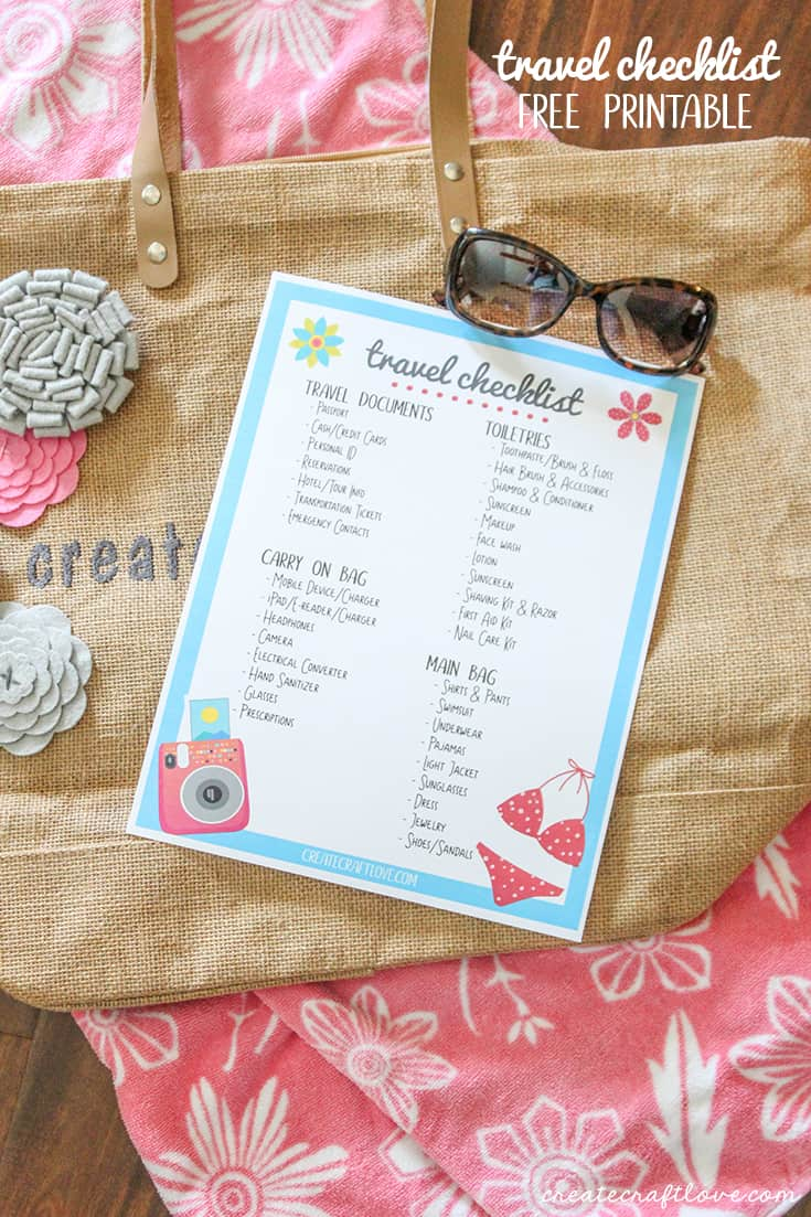 Get organized packing for summer vacation with this Travel Checklist Printable!