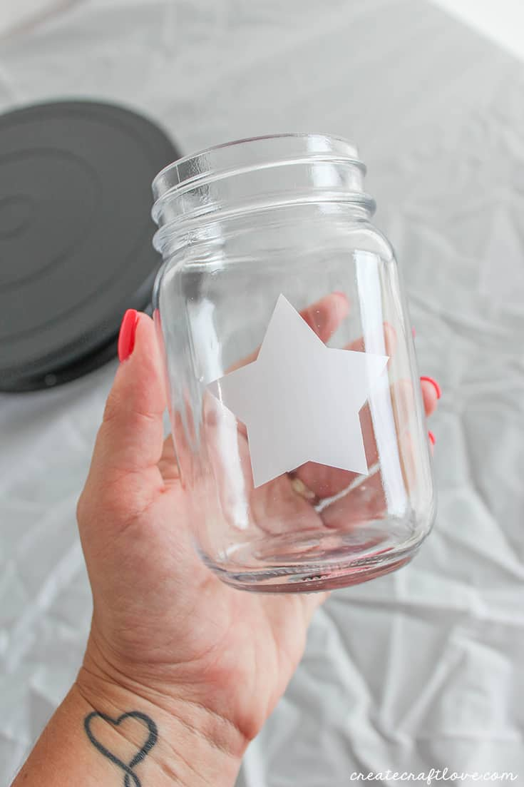 prepping your patriotic painted mason jar