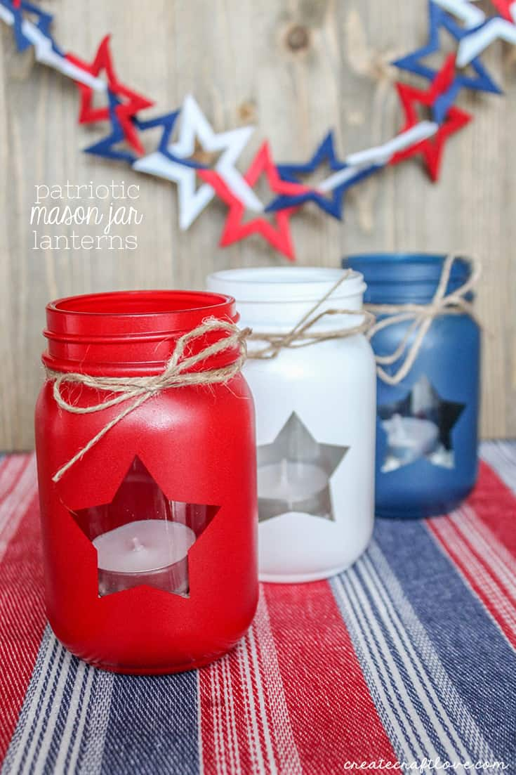 These Patriotic Mason Jar Lanterns are perfect for Memorial Day, 4th of July and Labor Day!