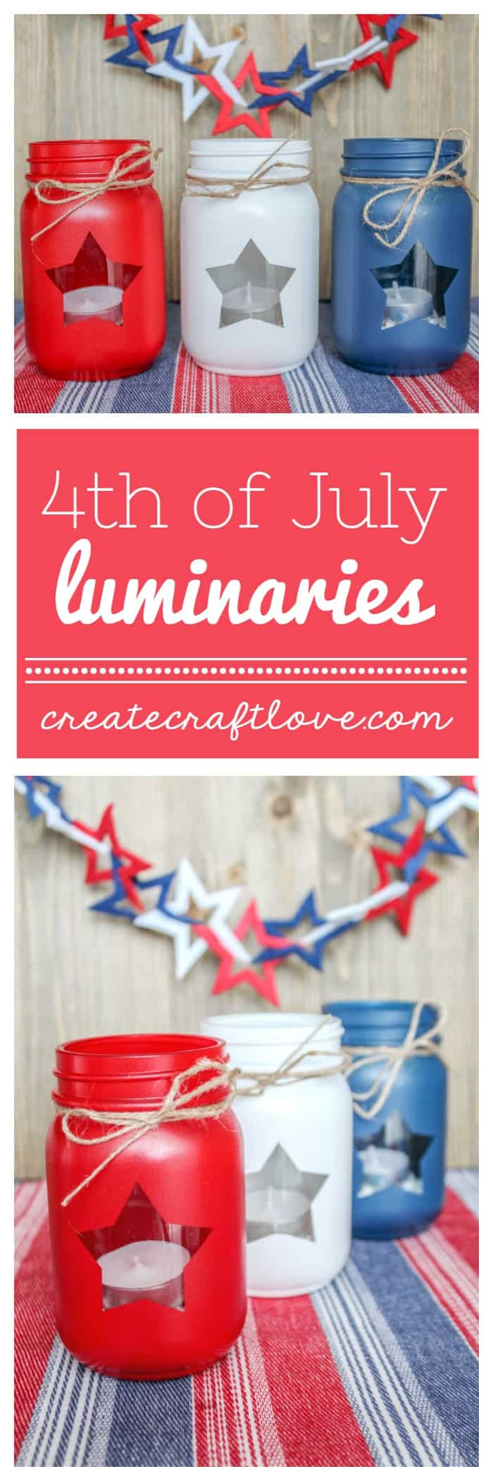 How cute are these Patriotic Mason Jar Lanterns?!