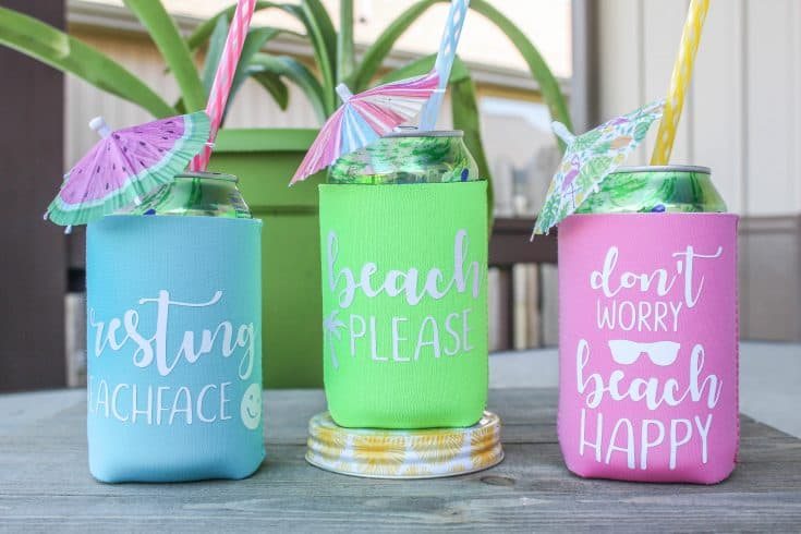 Beachy Custom Can Koozies made with Cricut Explore!