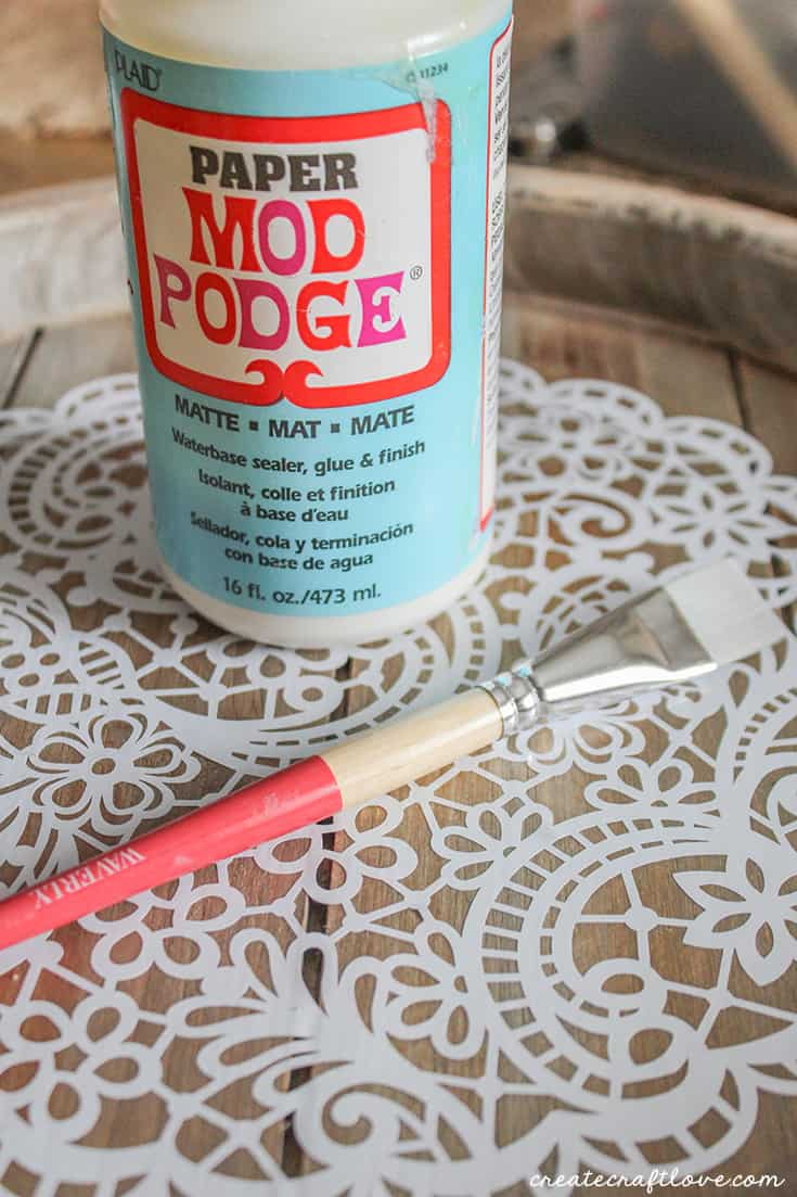 Seal your decorative wooden tray with Mod Podge!