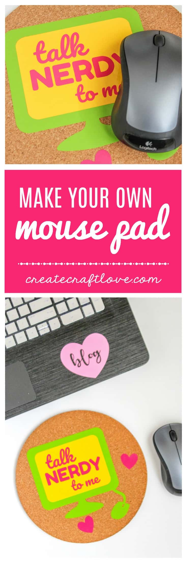 Make your own mouse pad!  All you need is a cork mat, some adhesive vinyl and my free SVG file!