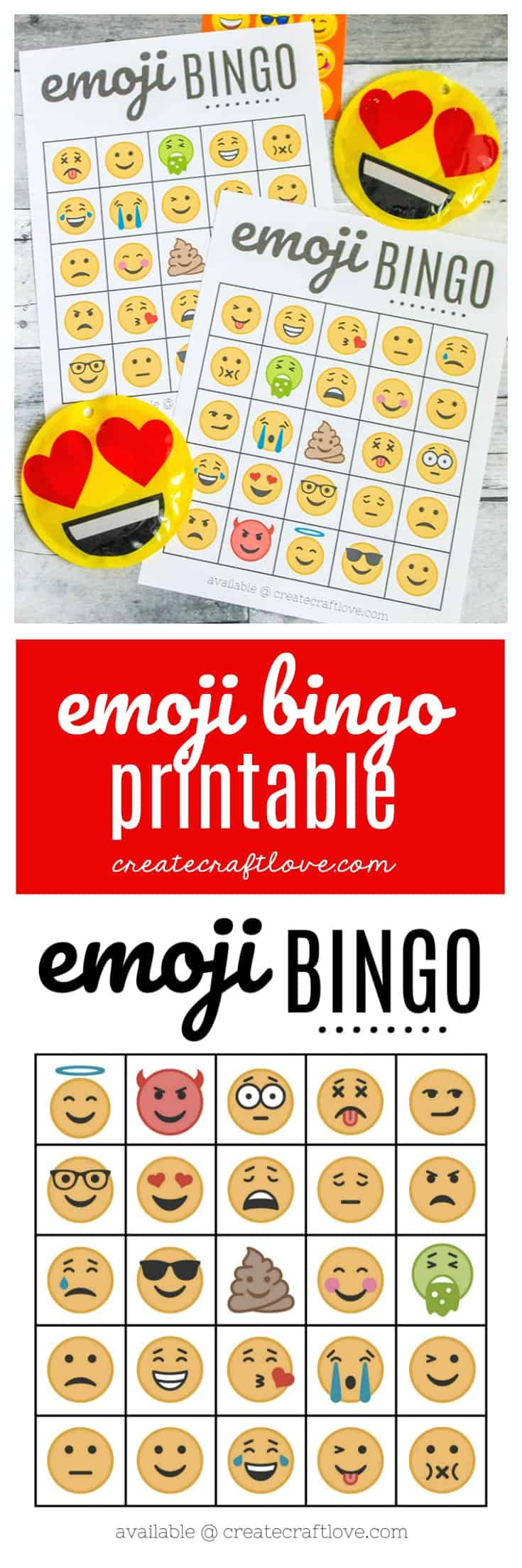 photo relating to Bingo Chips Printable referred to as No cost Emoji Bingo Printable - Deliver Craft Enjoy