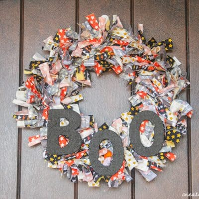 Let the kids help you make this Halloween Rag Wreath!