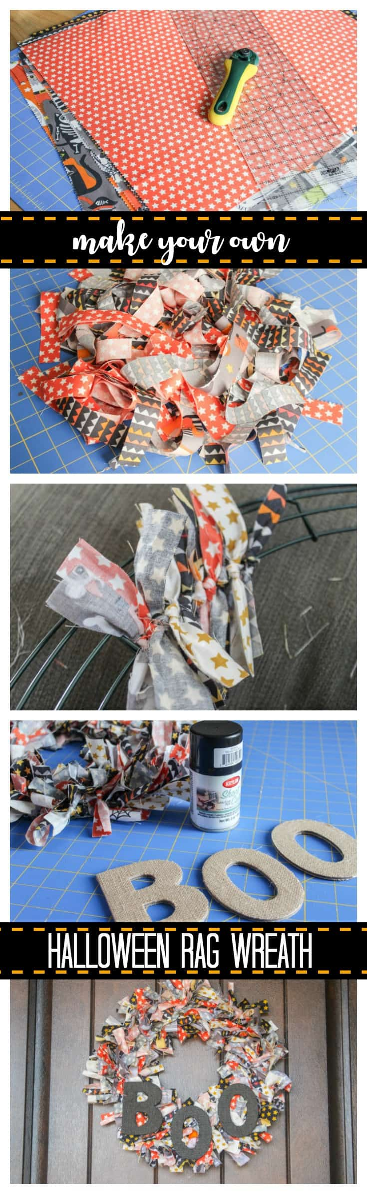 Make your own Halloween Rag Wreath!