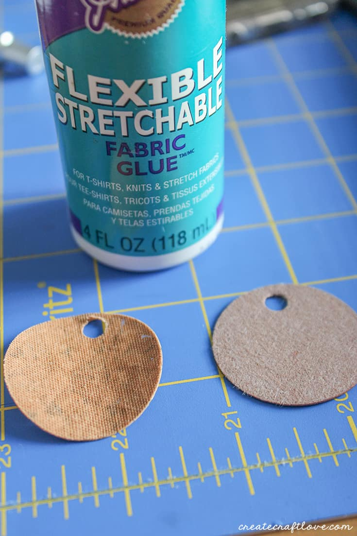 Glue cork and leather together for Cork Earrings!