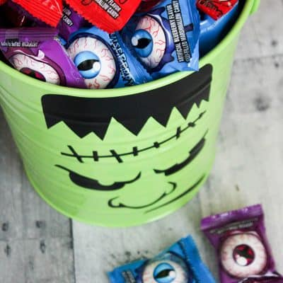 Frankenstein Halloween Candy Bucket that you can make yourself!