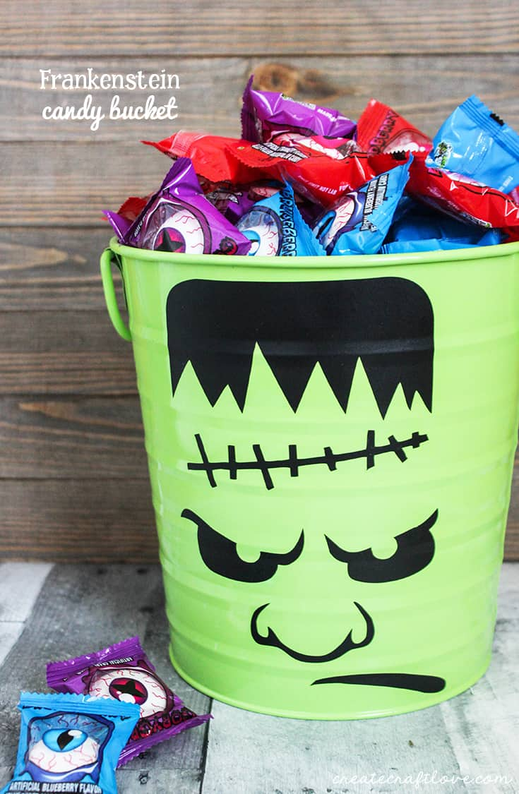 This Frankenstein Halloween Candy Bucket is great for trick or treating or passing out candy!