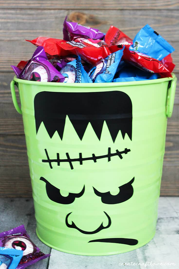 This Halloween Candy Bucket is great for trick or treating or passing out candy!