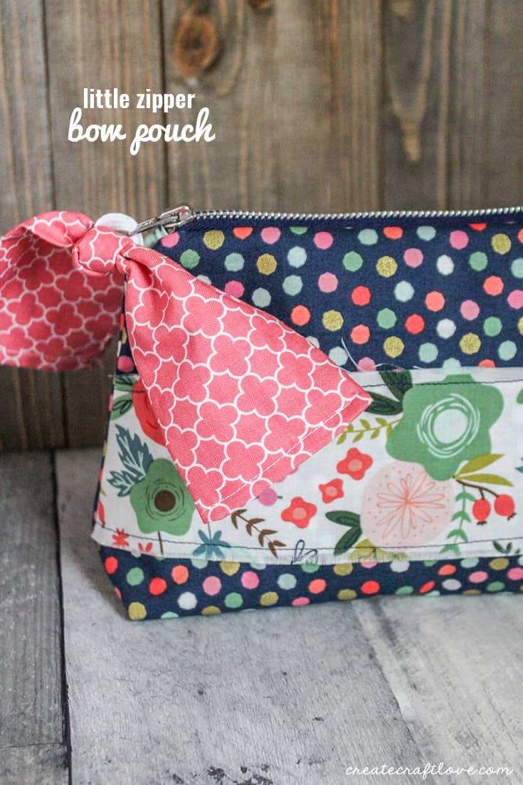 The Little Zipper Bow Pouch is one of 50 FREE sewing projects that comes with Cricut Maker!