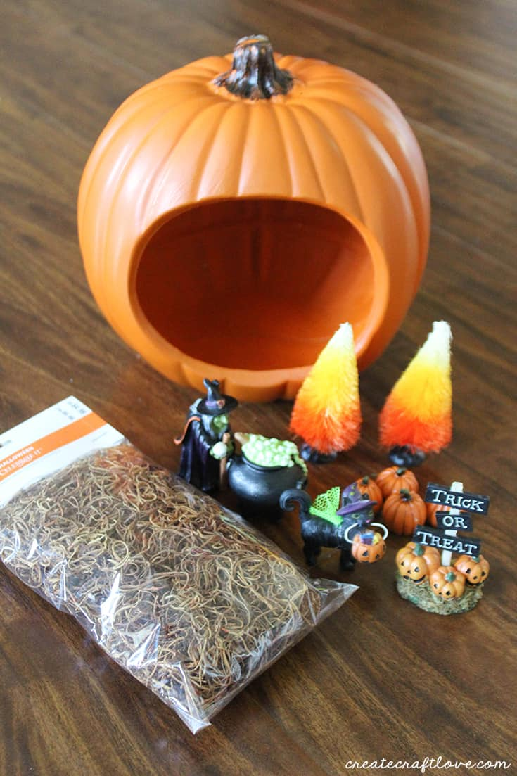 Supplies to make your own pumpkin diorama