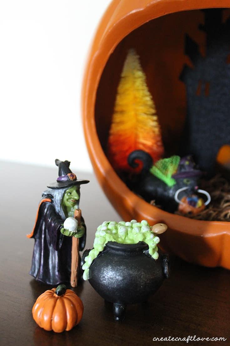 witch outside pumpkin