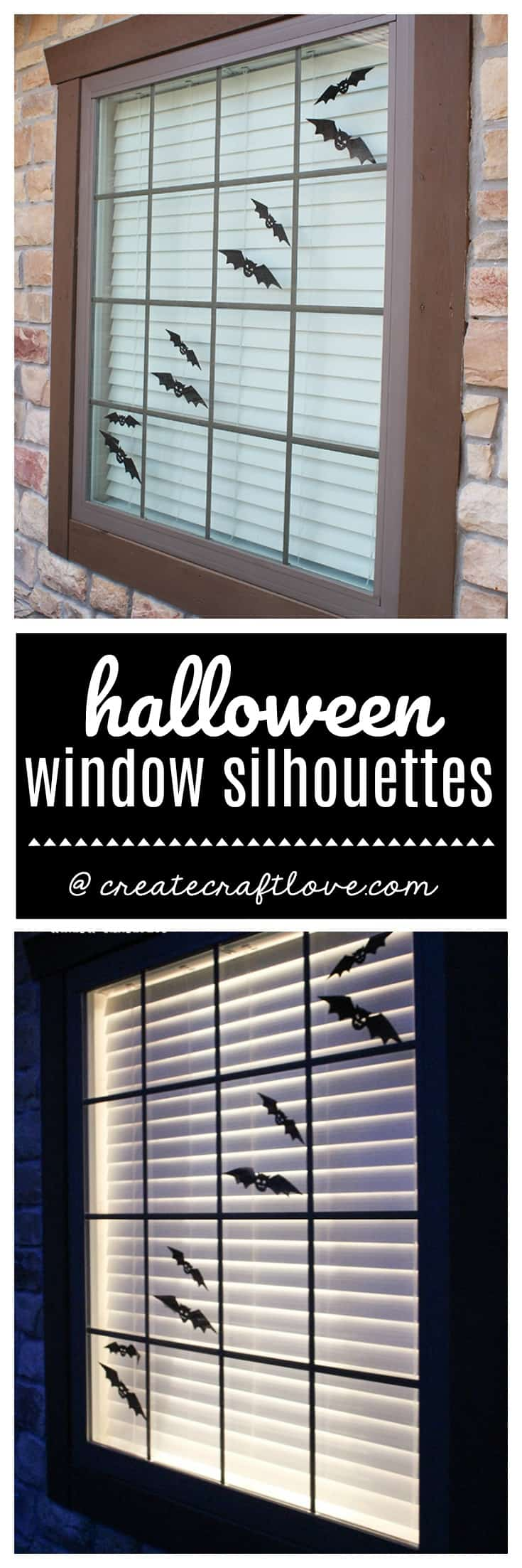 create an outdoor halloween scene with these window silhouettes