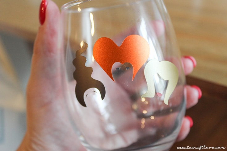 Upclose of Hocus Pocus Drink Glasses while adding vinyl