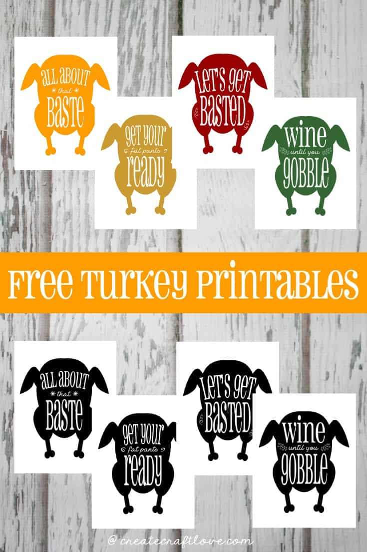 8 files included in this Turkey Printables download pack!