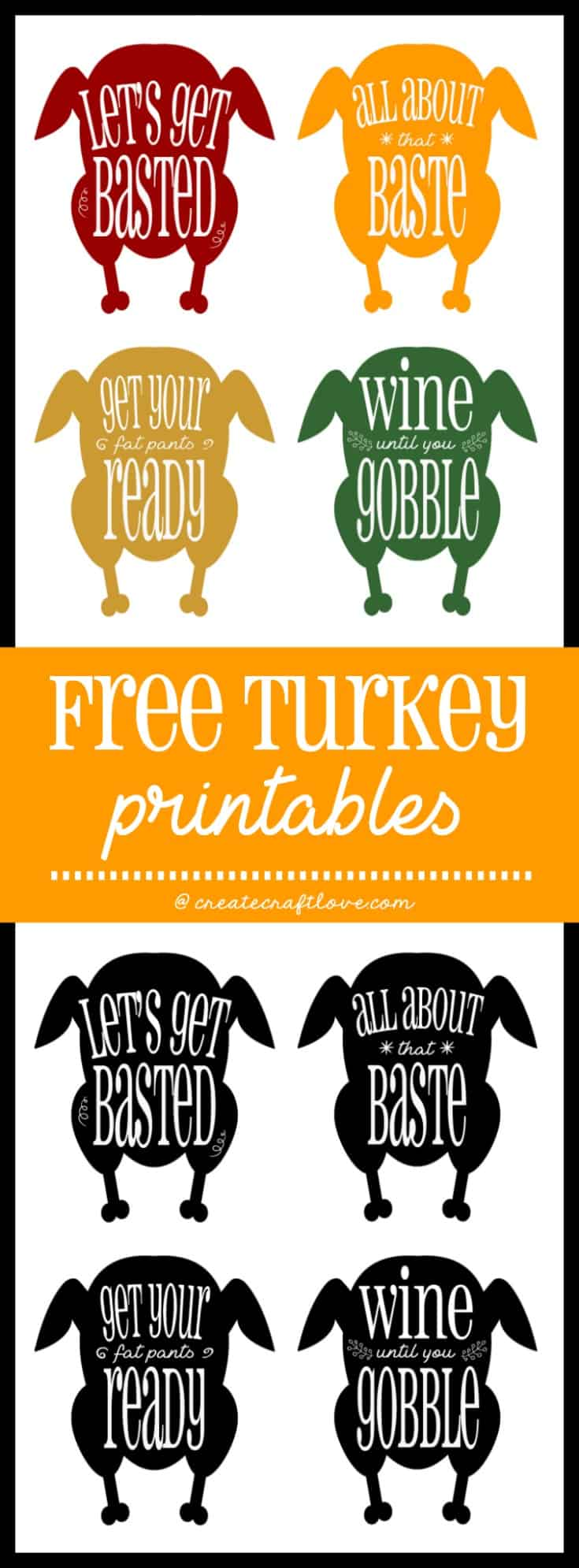 These Turkey Printables are hysterical! Download yours for free!