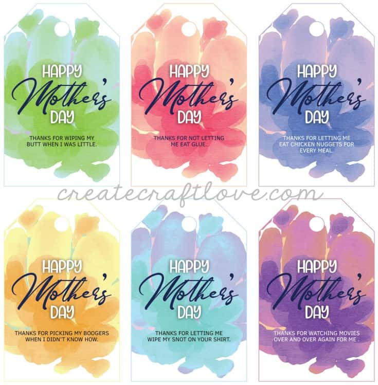 mothers day printable gift tags up close