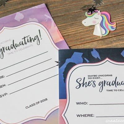 We created these unicorn inspired Customizable Graduation Invitations for your graduation party!