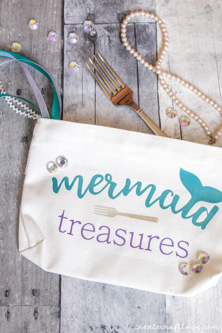 Store all of your mermaid treasures in this easy to make DIY Mermaid Makeup Bag!
