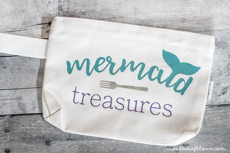 mermaid makeup bag pressed