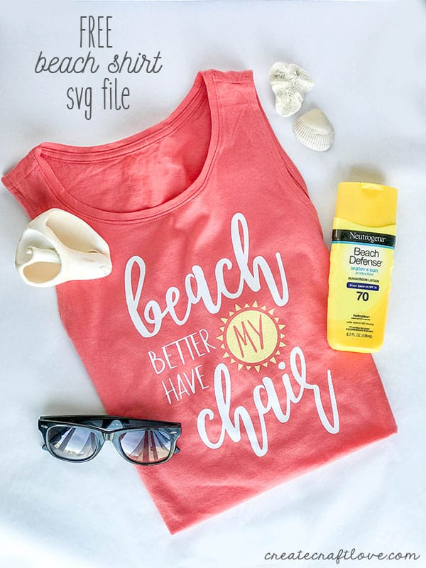 Create this cute, trendy summer tank top with our FREE Beach Shirt SVG Cut File!