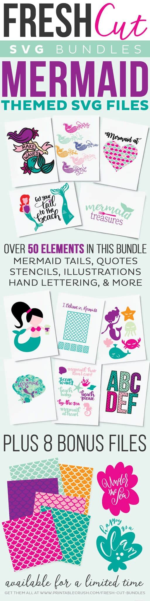 Fresh Cut SVG Bundle - Mermaid Theme!